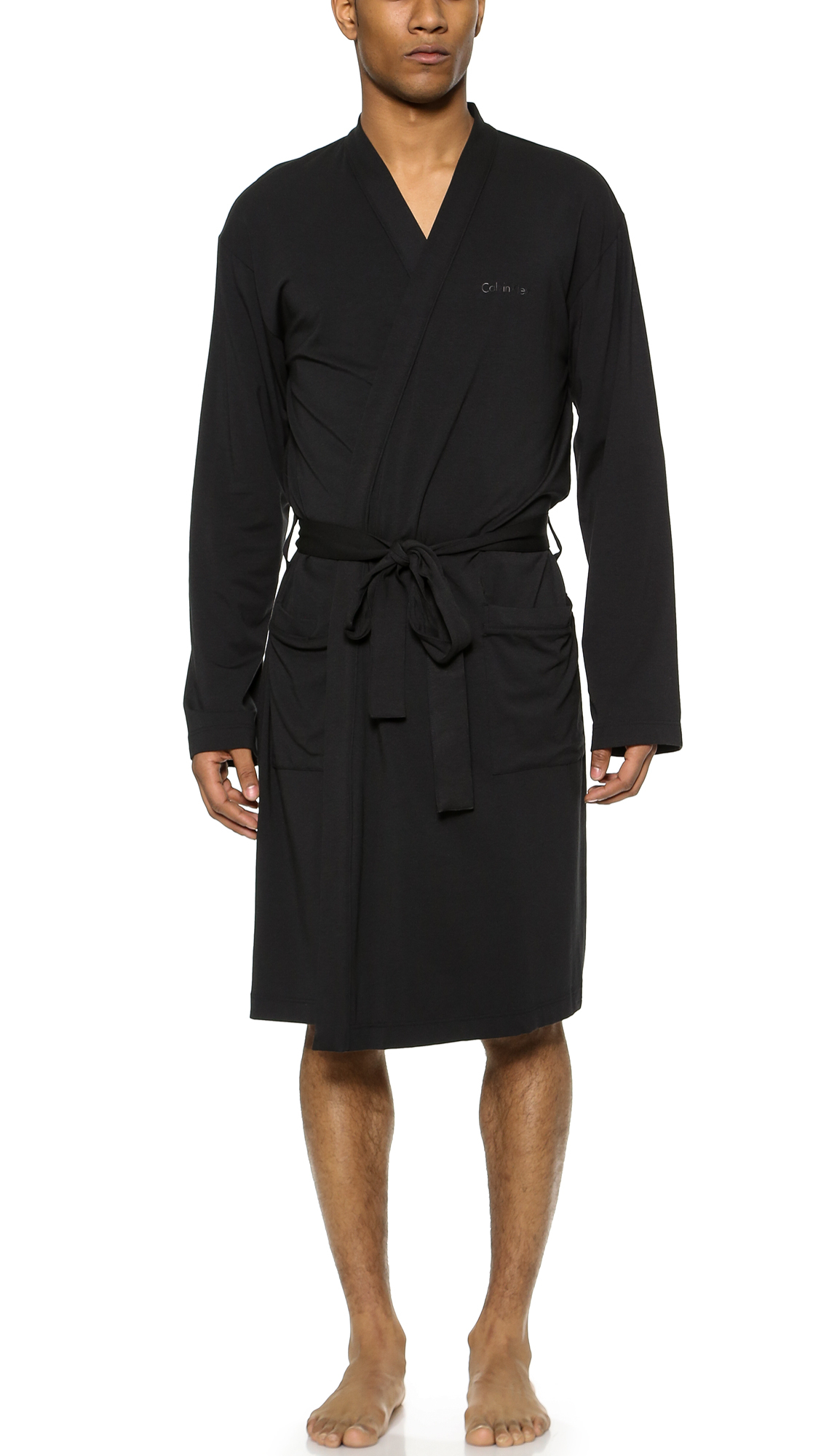 Calvin Klein Cotton Modal Robe In Black For Men Lyst
