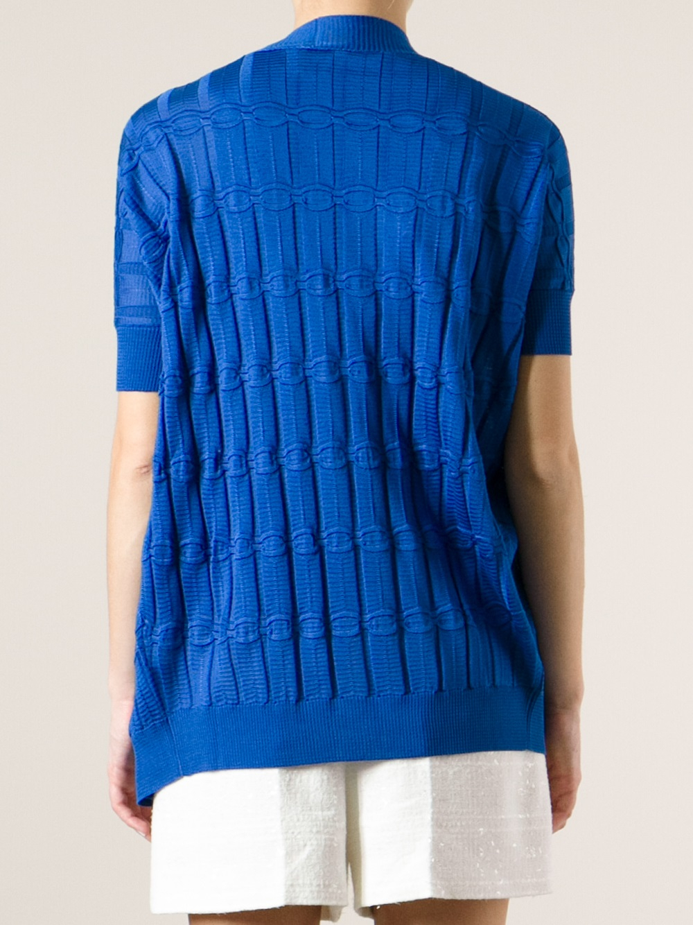 M missoni Short Sleeve Cardigan in Blue | Lyst
