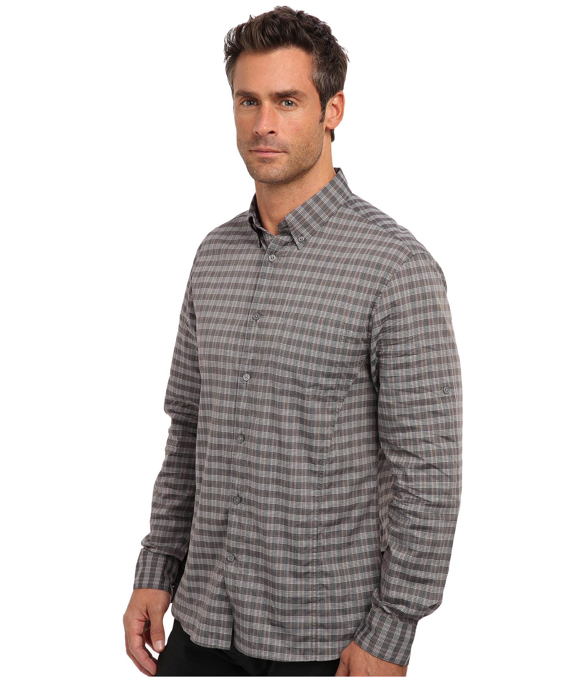 John Varvatos Plaid Roll Tab Sleeved Sportshirt In Gray