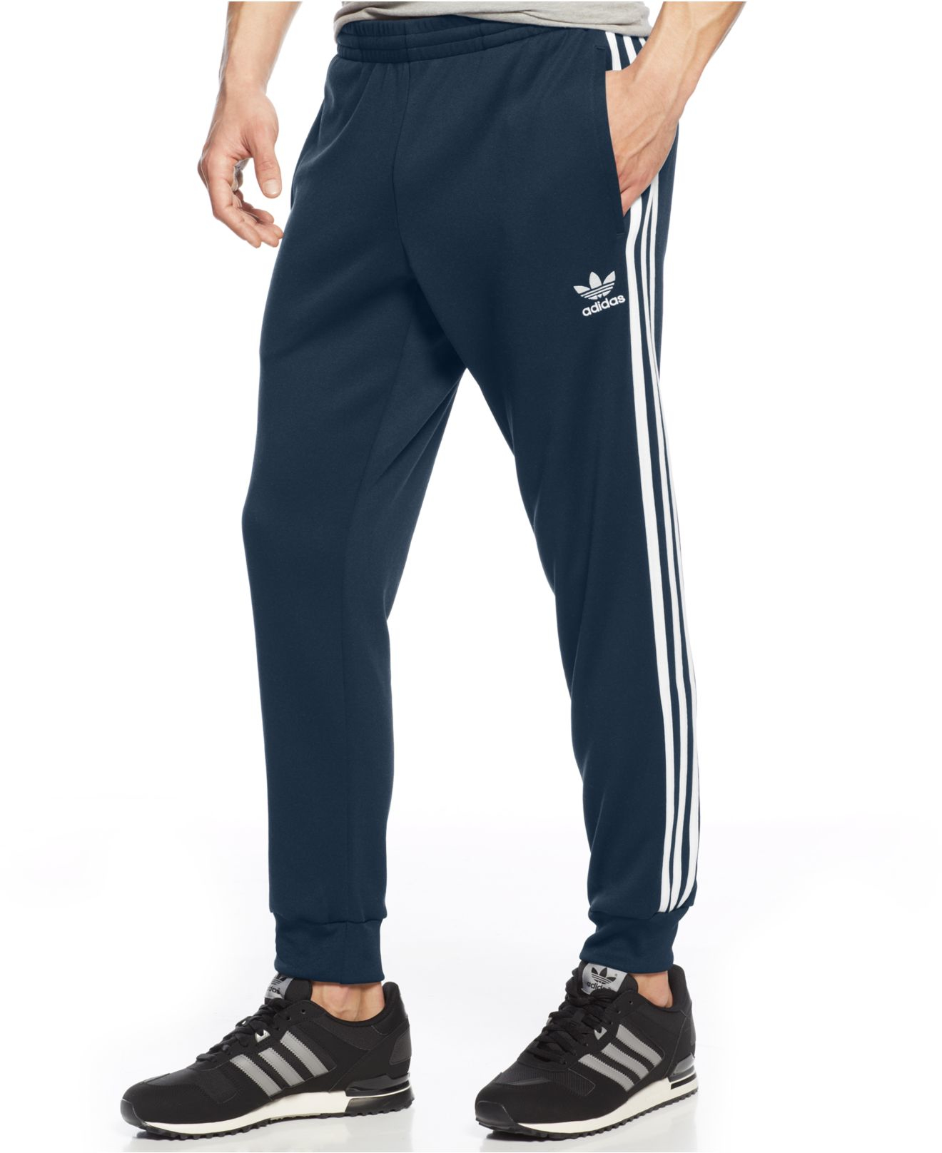 better price sold worldwide big clearance sale Adidas Blue Originals Striped Joggers for men