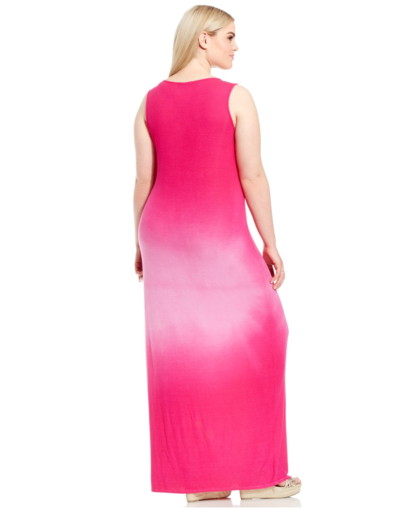 Lyst Soprano Plus Size Ribbed Ombr Maxi Dress In Pink
