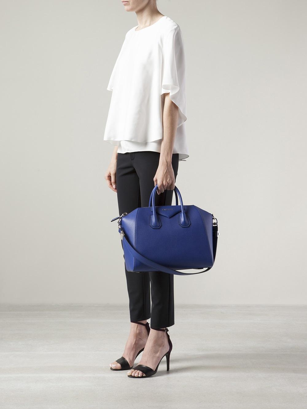 givenchy antigona medium bag in blue lyst. Black Bedroom Furniture Sets. Home Design Ideas