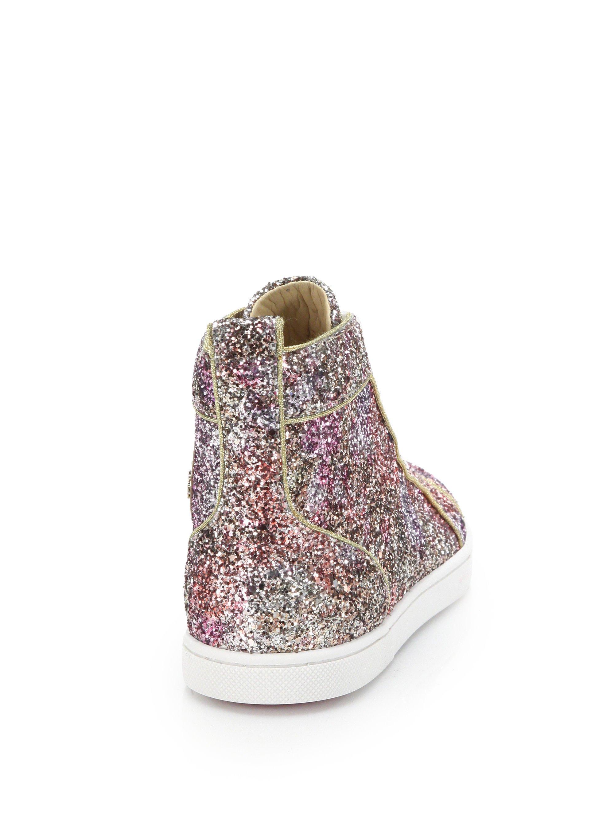8f9dfbb6eaa09 Christian Louboutin Bip Bip Glitter High-top Sneakers in Pink - Lyst