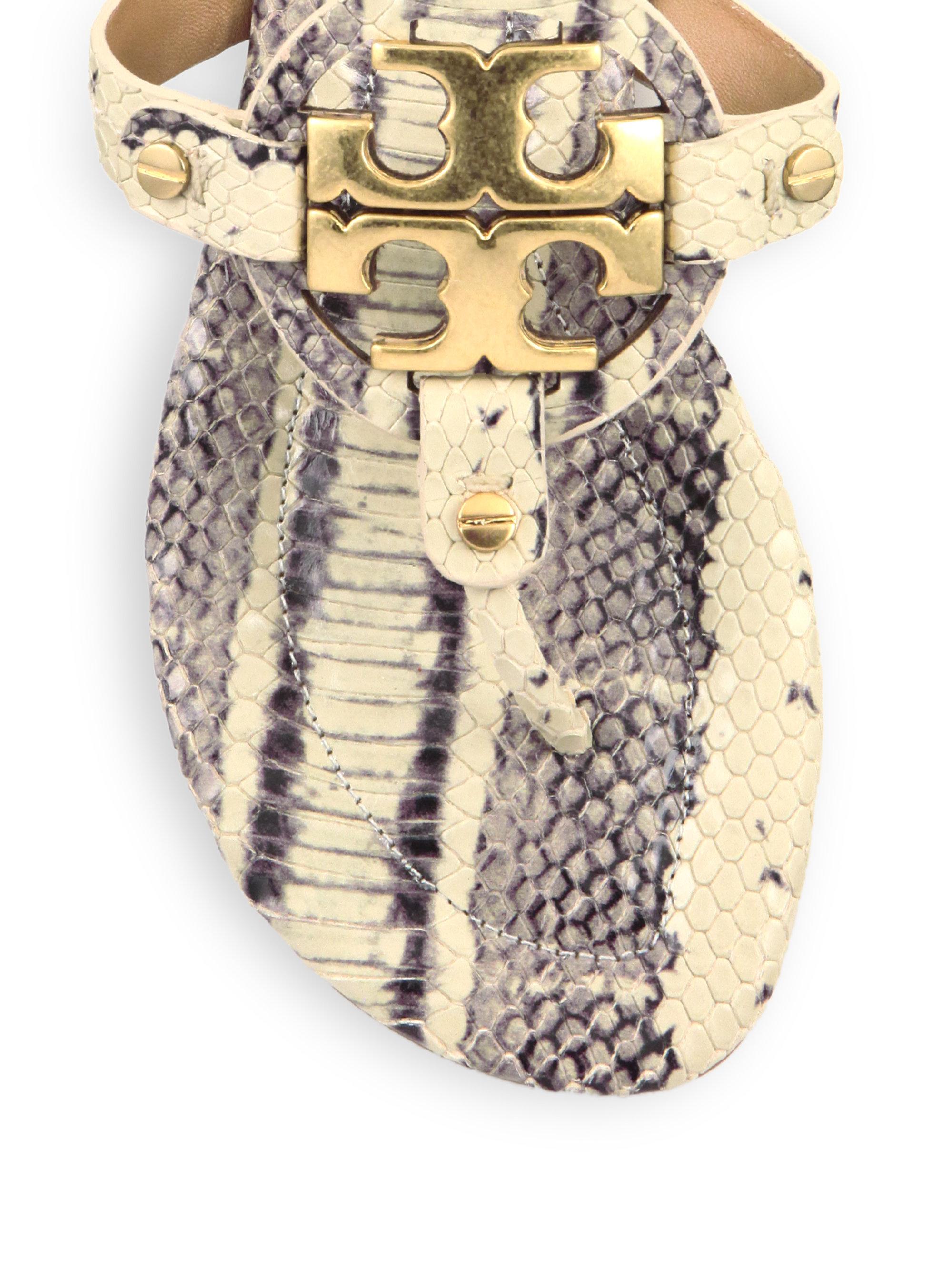 67e1b0ea9de Lyst - Tory Burch Miller Snake-embossed Leather Logo Thong Sandals