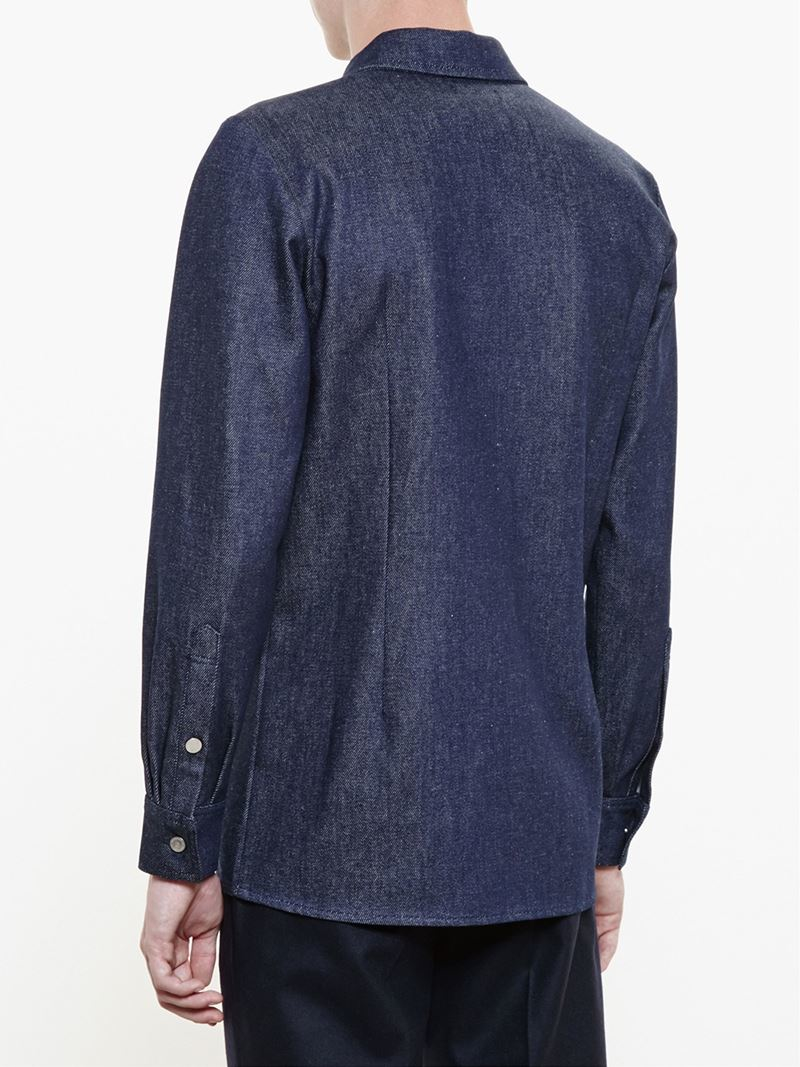Raf Simons Logo Patch Denim Shirt In Blue For Men Lyst