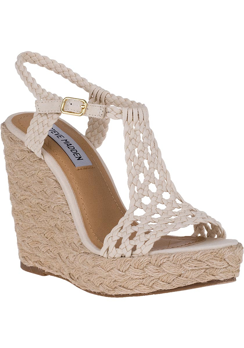 Steve Madden Manngo Wedge Espadrille Natural Fabric In