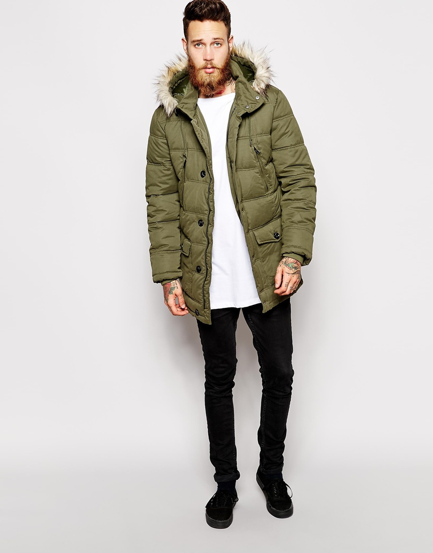 Asos Quilted Parka Jacket in Green for Men | Lyst