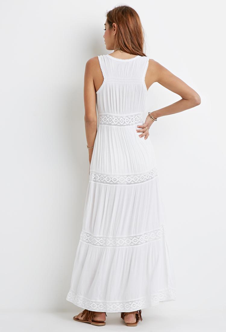 Lyst - Forever 21 Crocheted Gauze Maxi Dress in White - photo #27