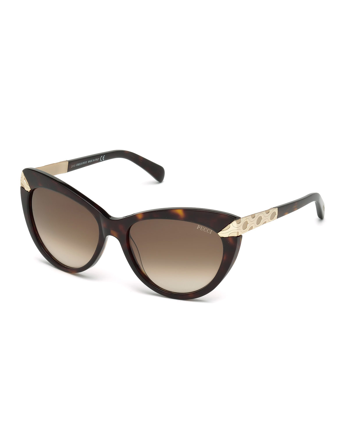 Kookai Glasses Frame : Emilio pucci Embossed-trim Cat-eye Sunglasses in Brown Lyst
