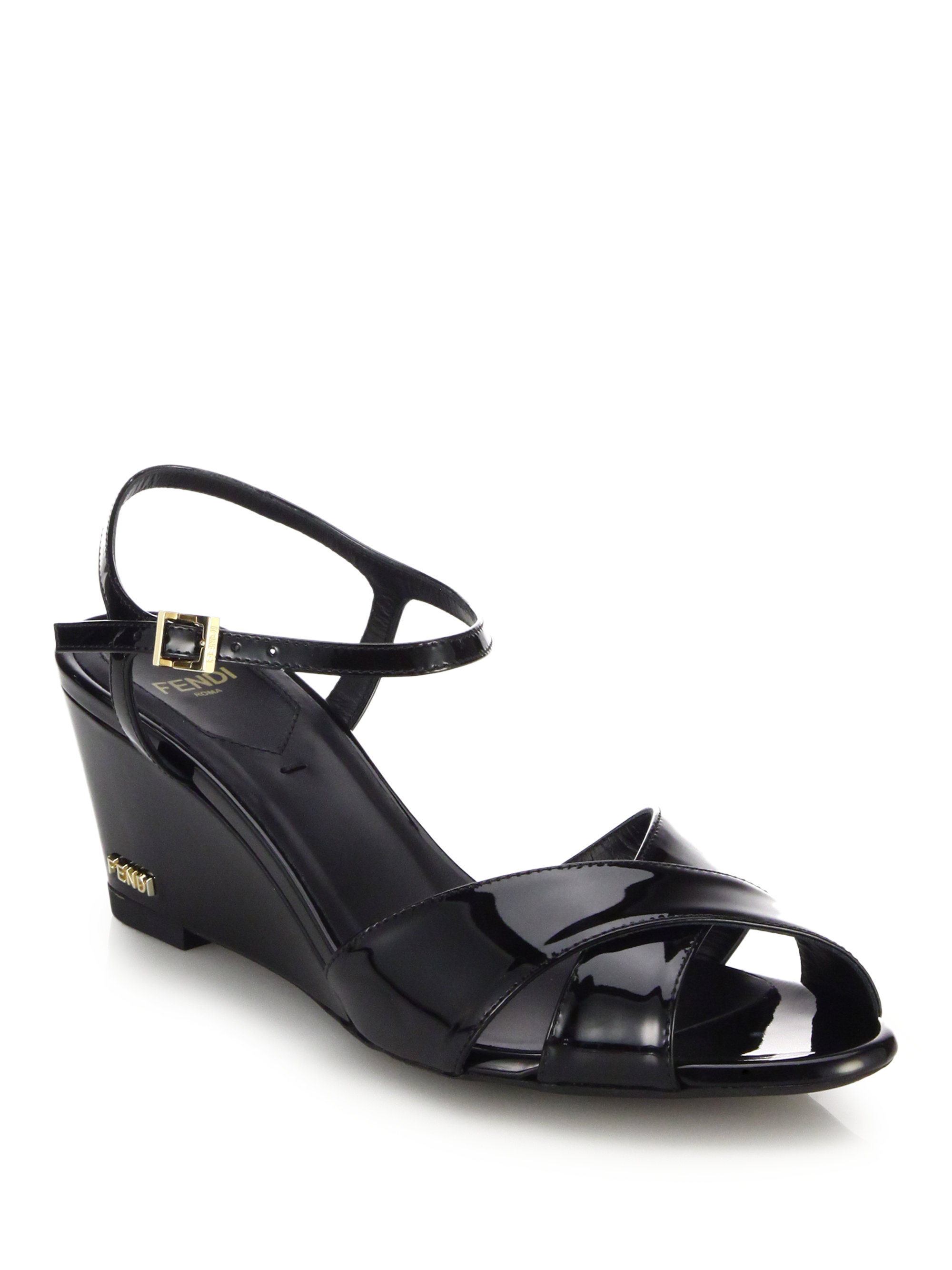 Lyst Fendi Patent Leather Wedge Sandals In Black