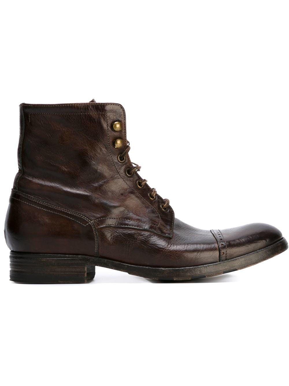 pete sorensen detroit combat boots in brown for lyst