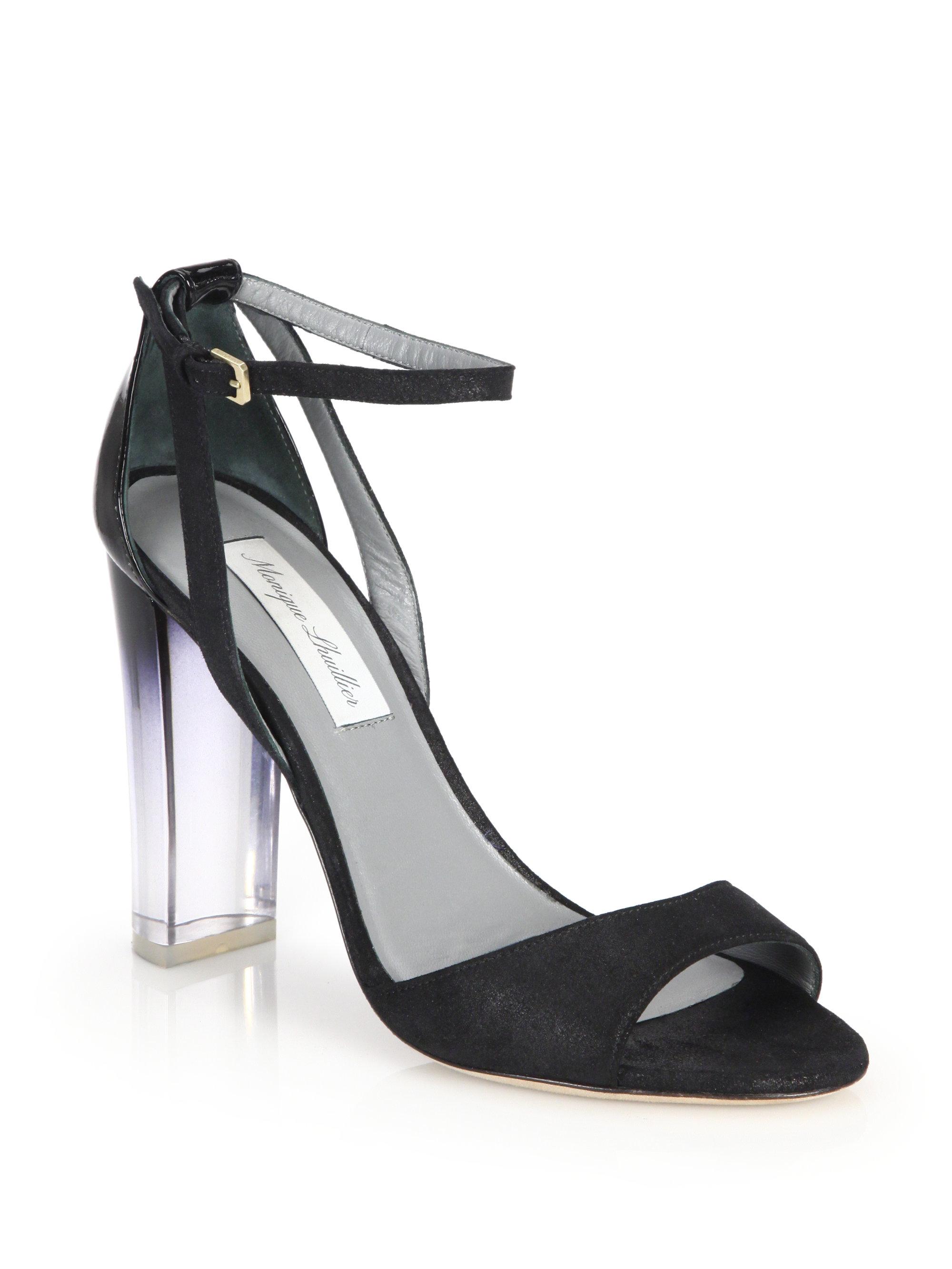 Lyst - Monique Lhuillier Ava Lucite-heel Metallic Suede   Patent ...
