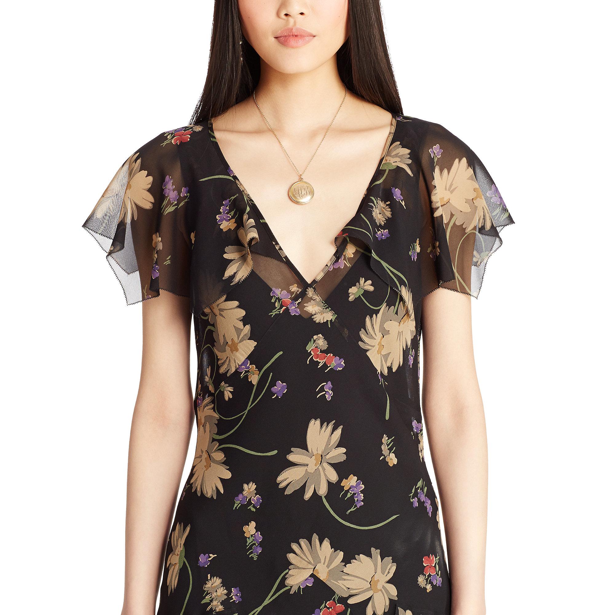 Lyst Polo Ralph Lauren Floral Print Silk Dress In Black