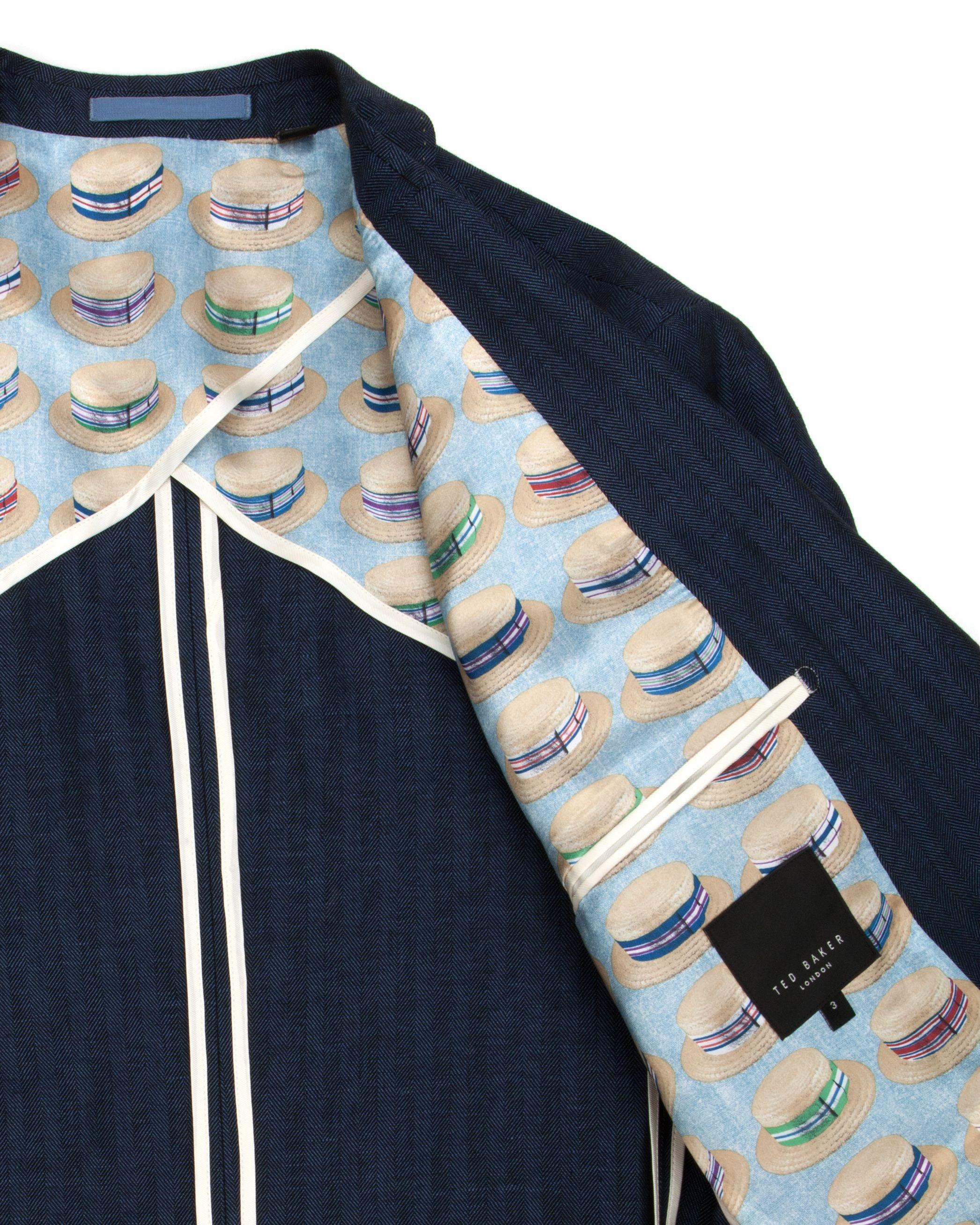 Ted Baker Breek Linen Herringbone Blazer in Navy (Blue) for Men