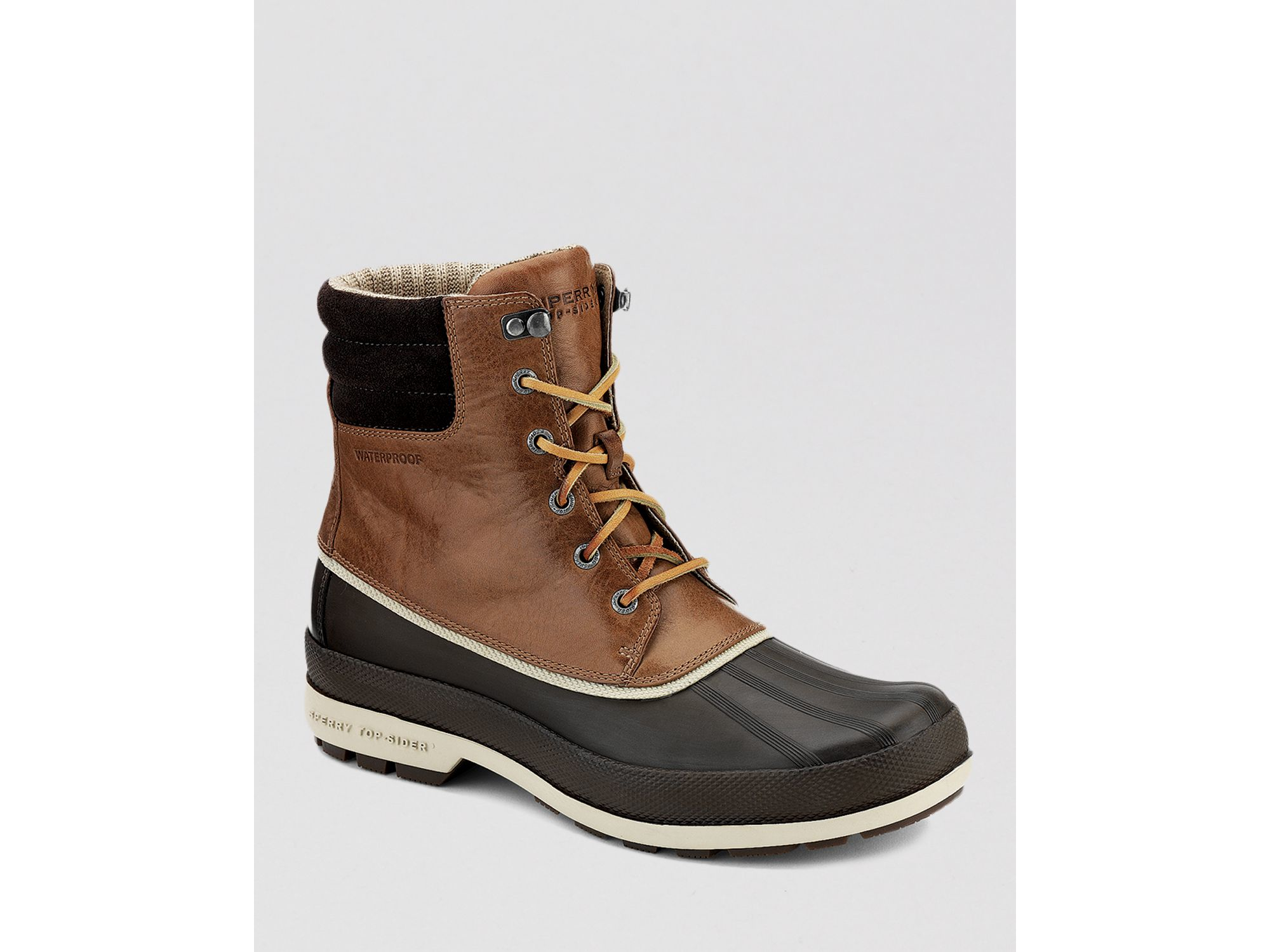 sperry top sider waterproof cold bay boots in brown for