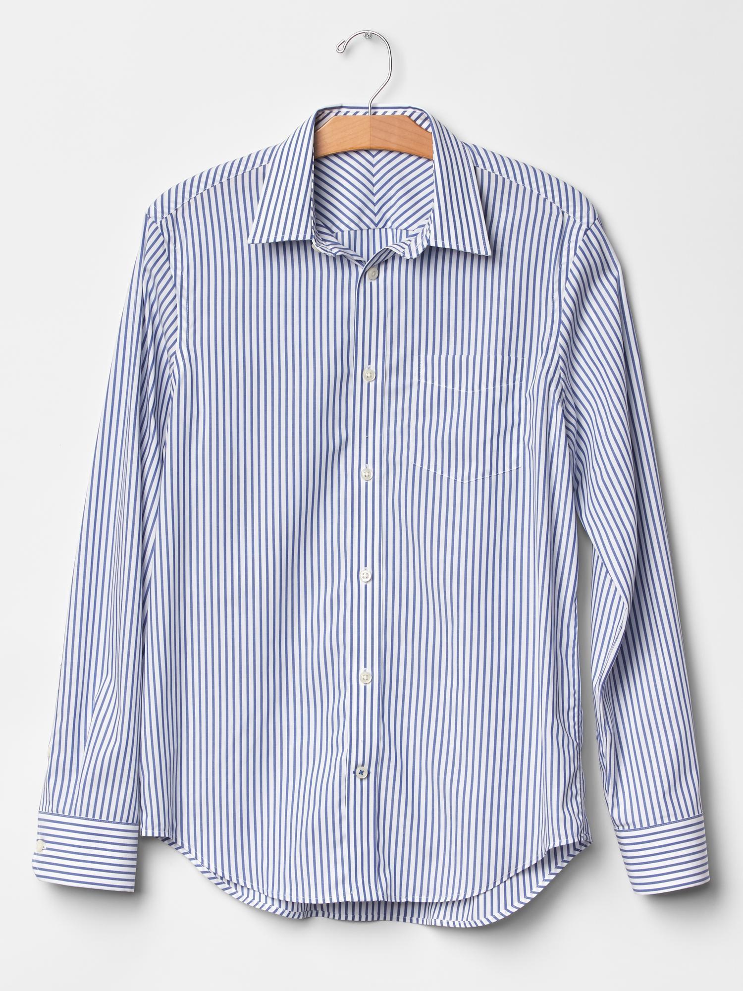 Gap blue wrinkle resistant stripe shirt for men lyst for Wrinkle resistant dress shirts
