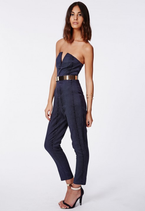 14fba6f679e4 Missguided Alexis Croc Plunge Bandeau Jumpsuit Navy in Blue - Lyst