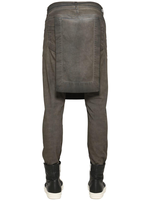 Rick owens Drkshdw 19cm Paneled Washed Denim Jeans in Brown | Lyst