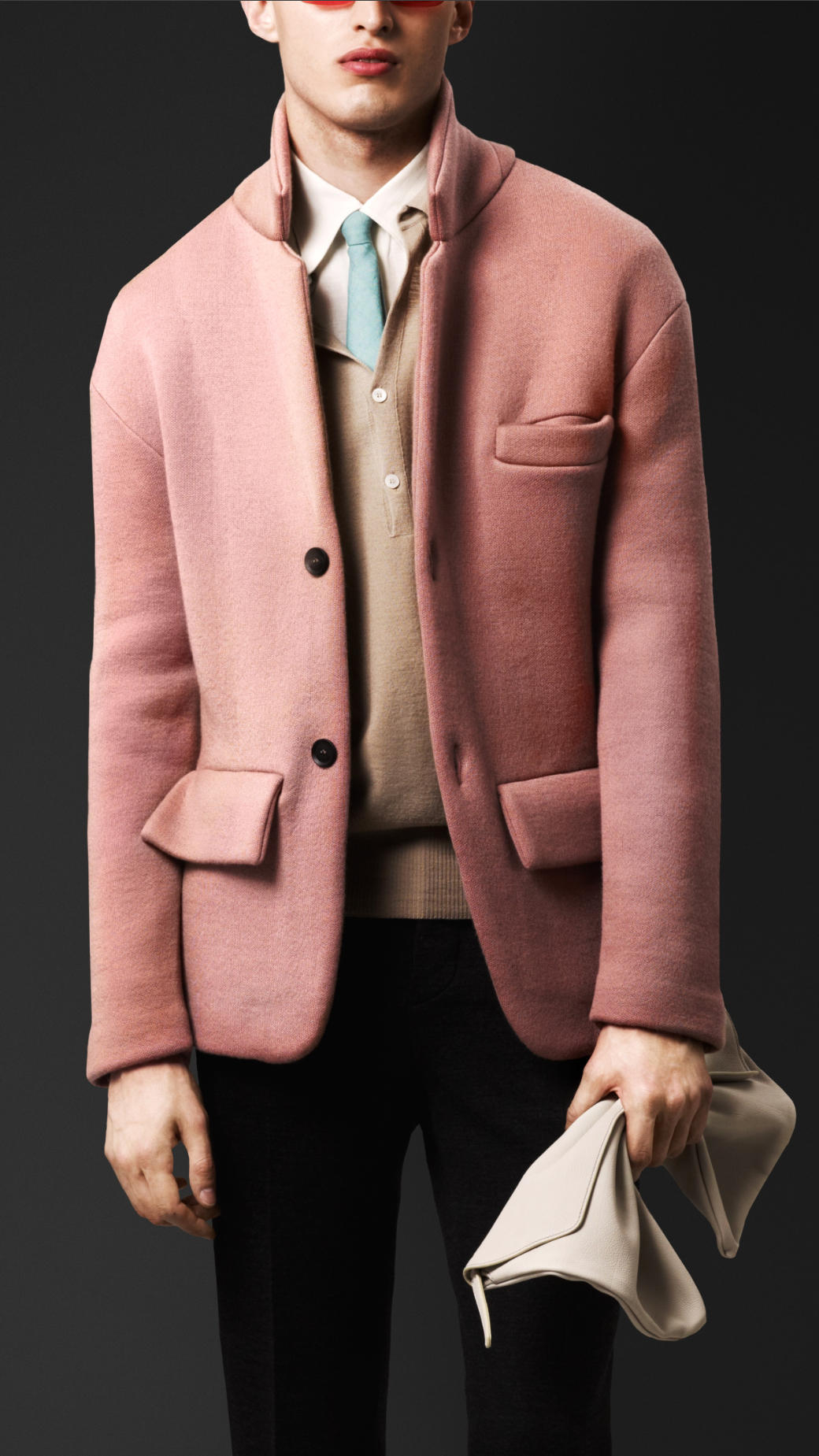 Burberry Cashmere Knit Tailored Jacket in Pink for Men | Lyst