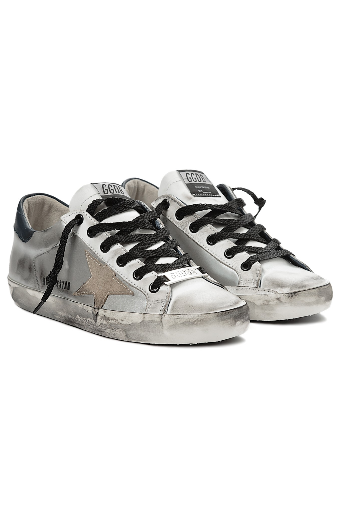 golden goose deluxe brand superstar low sneaker in silver silv lyst. Black Bedroom Furniture Sets. Home Design Ideas