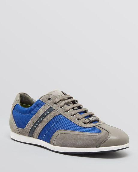 hugo boss boss stiven sneaker calf in gray for men bright blue. Black Bedroom Furniture Sets. Home Design Ideas