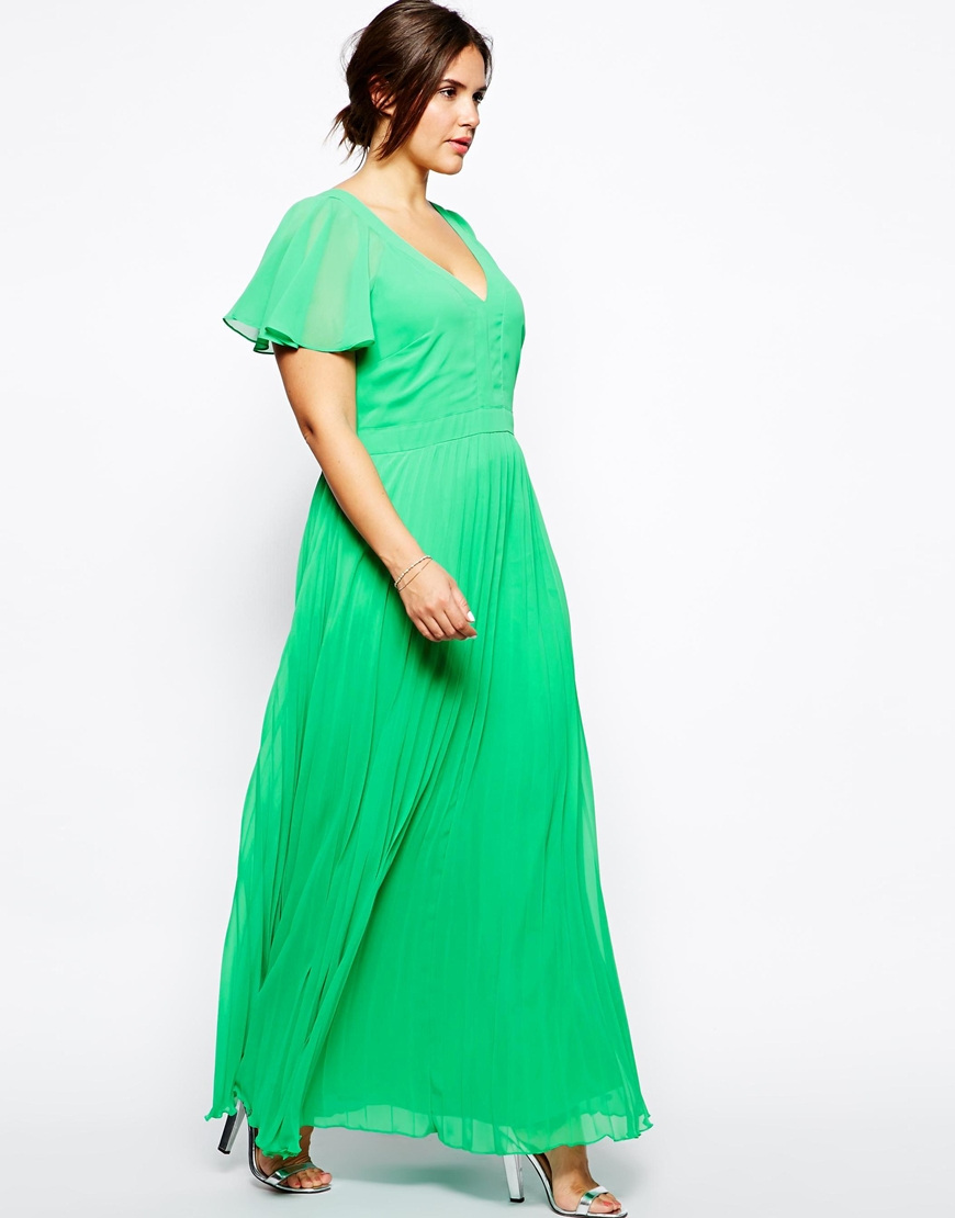 b890bd8a5a2 Lyst - ASOS Maxi Dress with Ruffle Sleeve and Pleat Skirt in Green