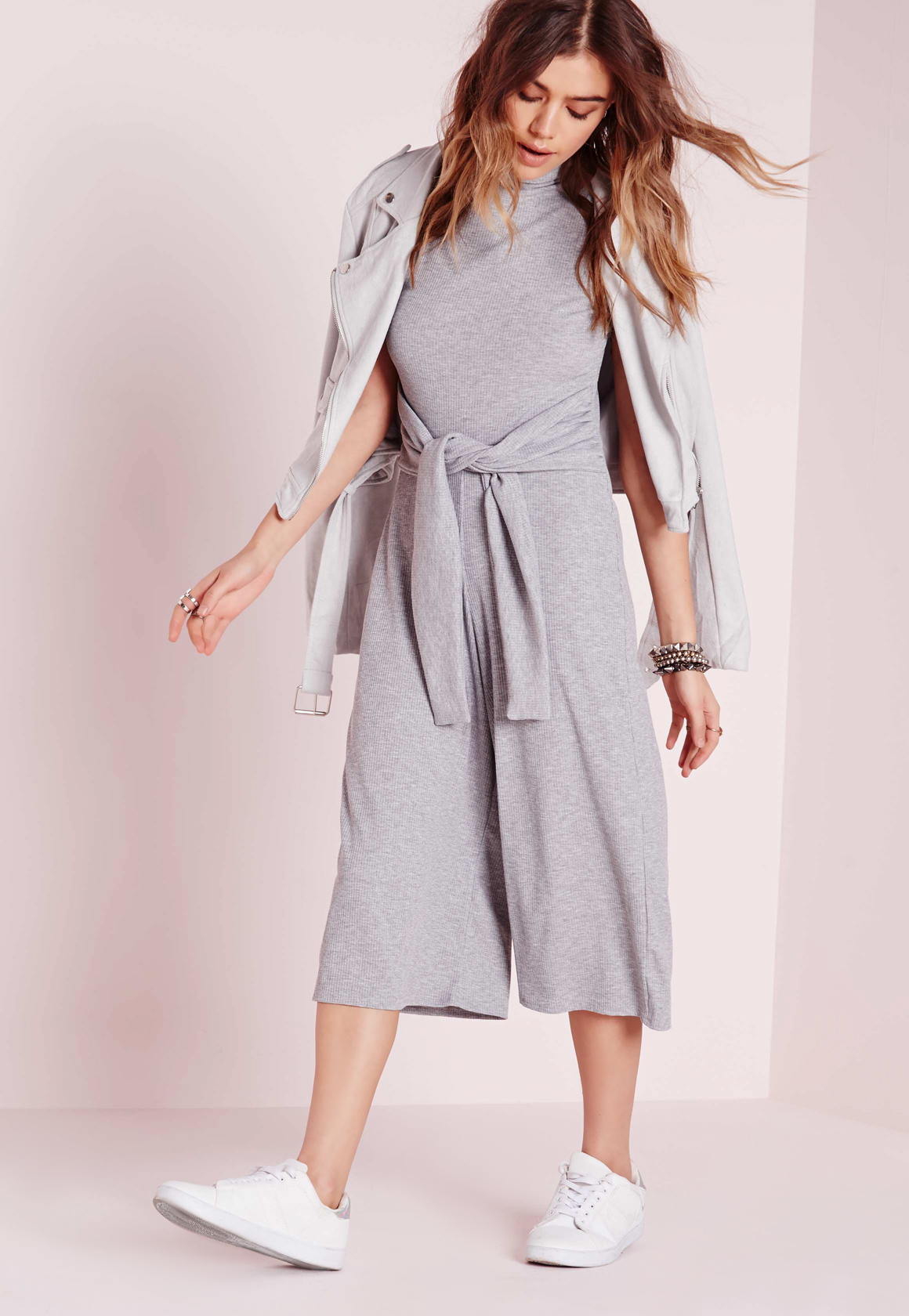 2d1bf6eb41b Lyst - Missguided Ribbed Culotte Tie Waist Jumpsuit Grey in Gray