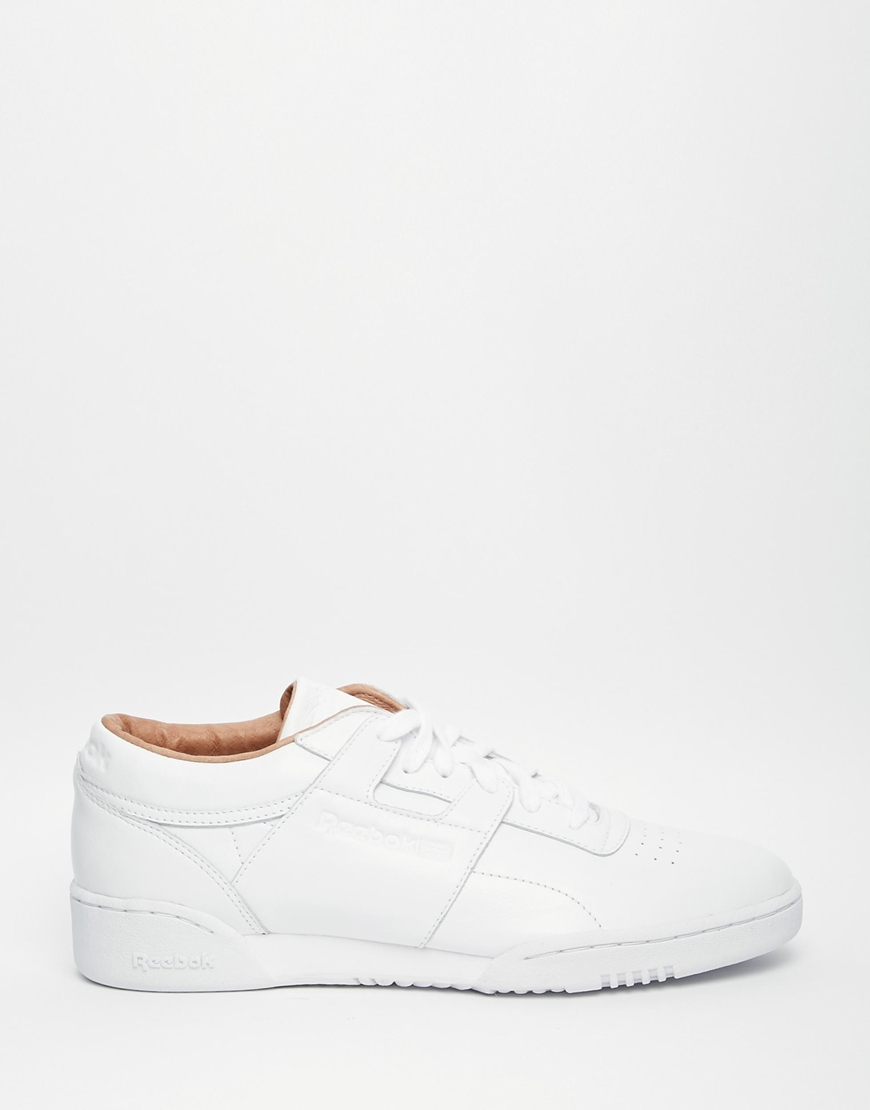 Reebok Workout Lo Clean Premium Leather Trainers In White V68813 ... 335f477eb
