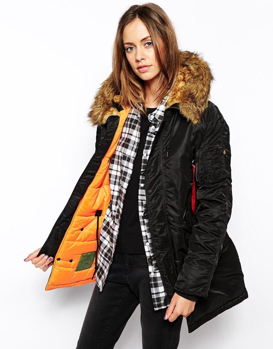 alpha industries n3b parka coat with faux fur hood in. Black Bedroom Furniture Sets. Home Design Ideas