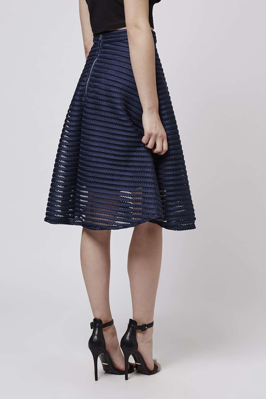 topshop torri midi skirt by tfnc in blue lyst