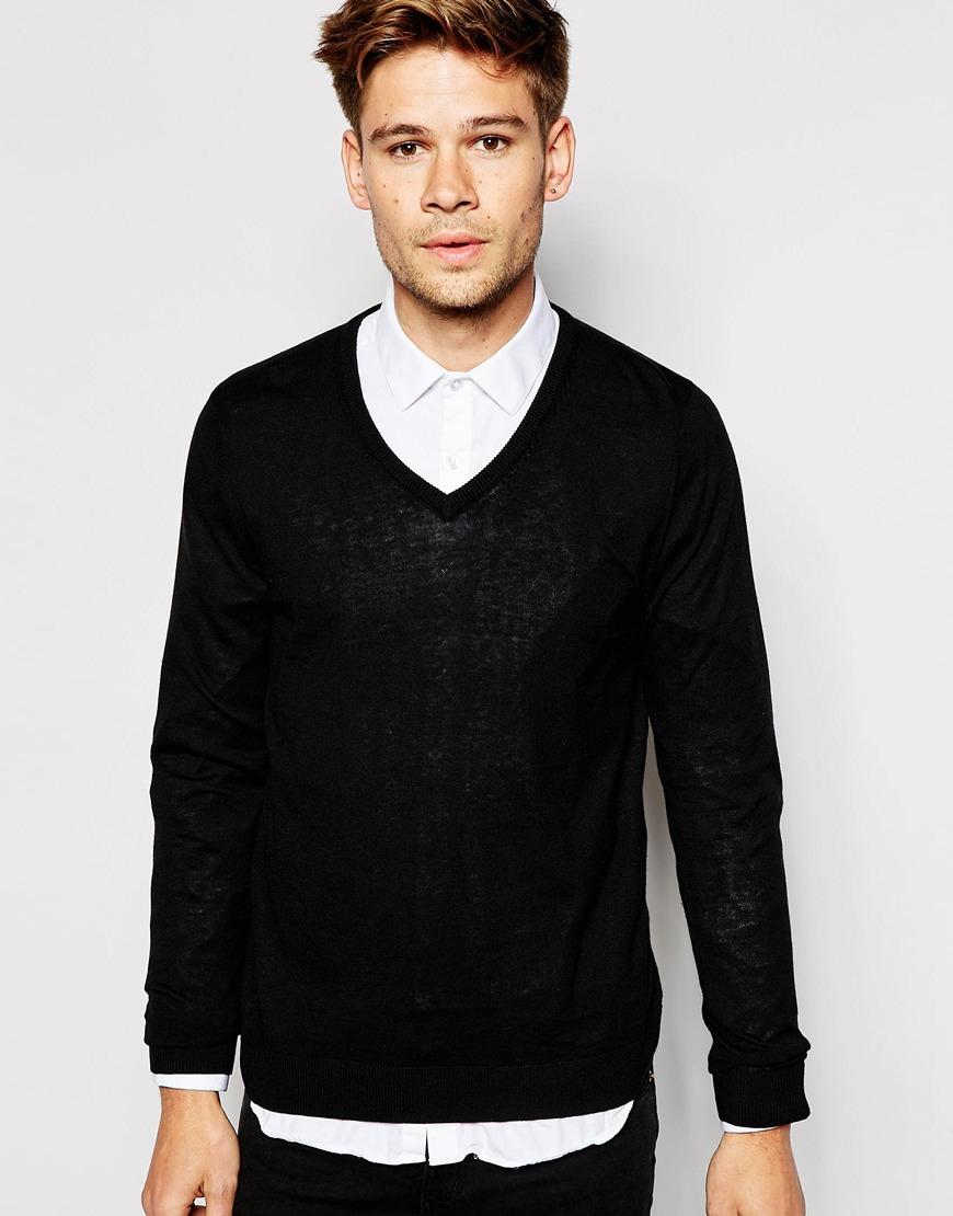Esprit Cotton Cashmere Silk Mix V-neck Sweater in Black for Men | Lyst
