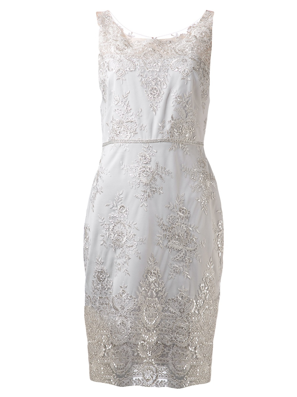 Notte by marchesa silver lace cocktail dress
