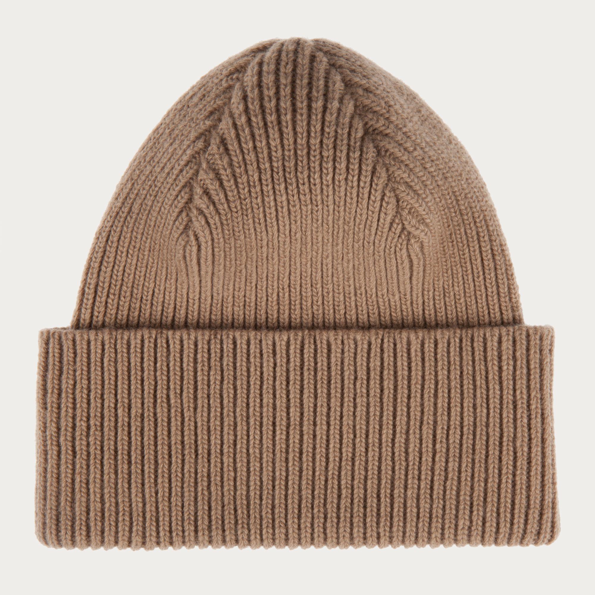 Knotted Beanie Hat White, Womens wool knit beanie hat in bone Bally