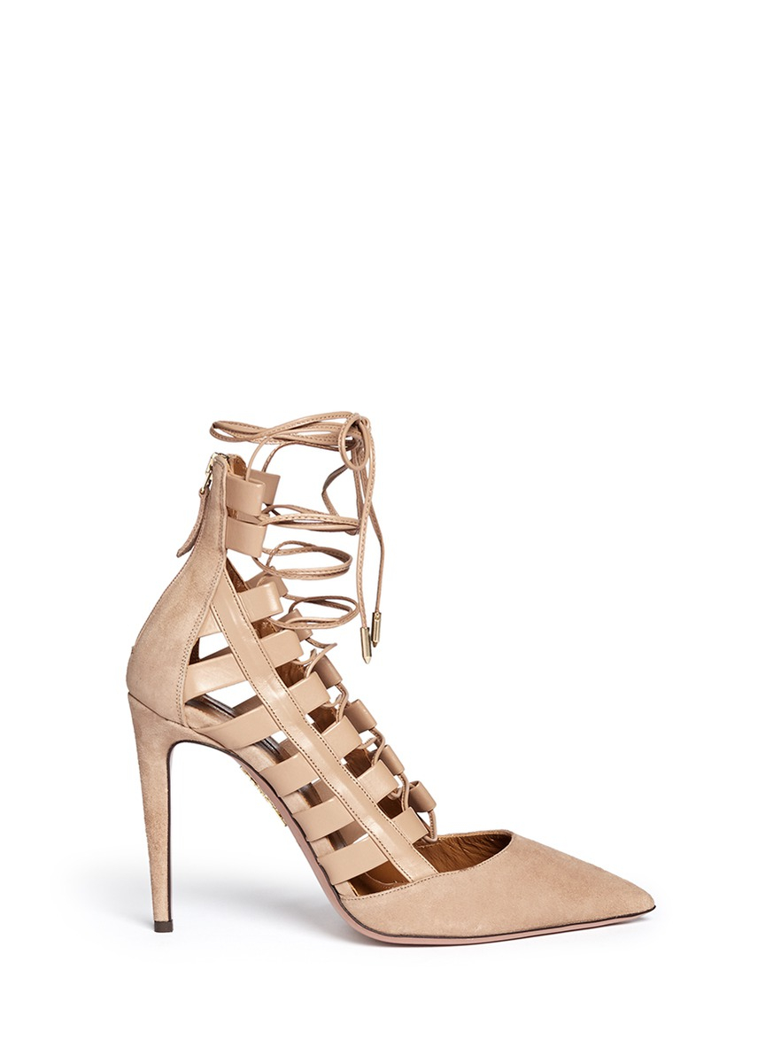 218d996f0c6 Lyst - Aquazzura  amazon  Leather Suede Combo Lace-up Pumps in Natural