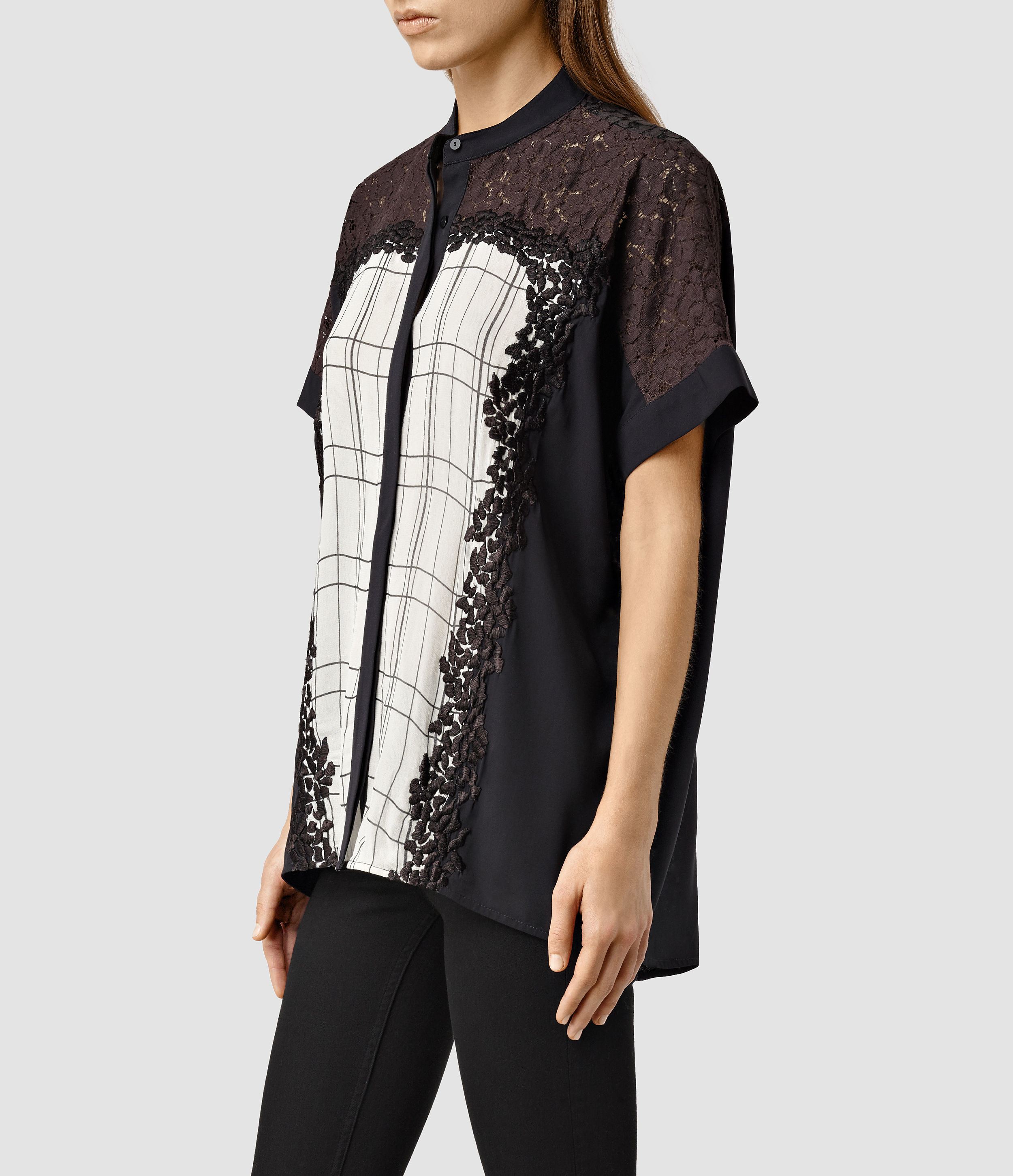 Allsaints Ifaneva Embroidered Shirt In Purple  Lyst