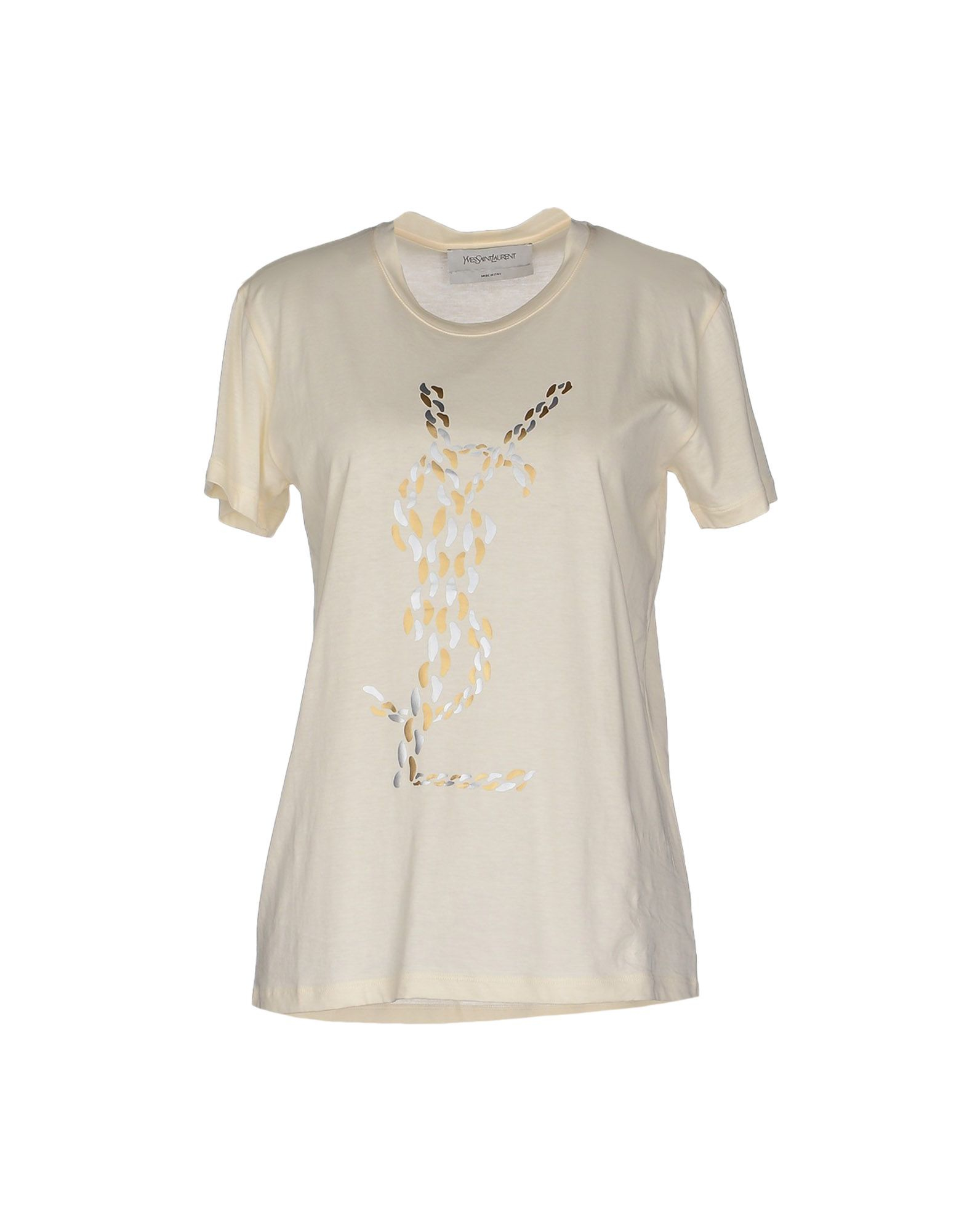 Saint Laurent T Shirt In Yellow Ivory Lyst