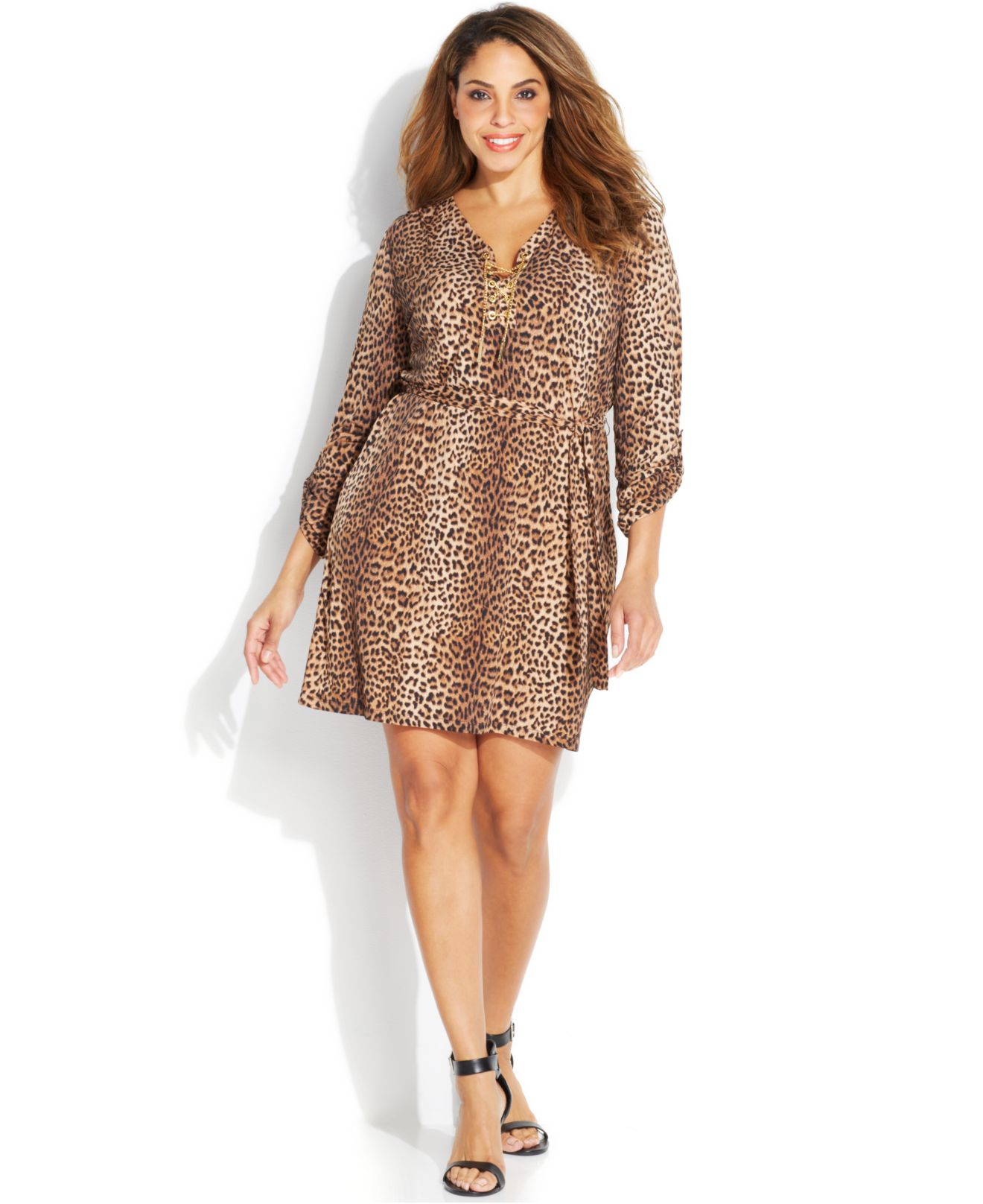 Michael Kors Multicolor Michael Plus Size Animal-Print Chain Lace-Up Dress