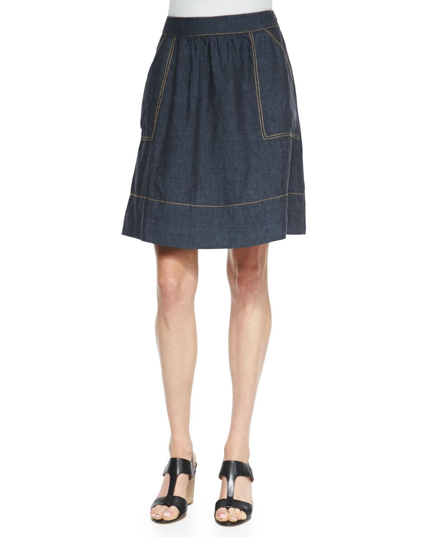 eileen fisher linen knee length skirt in blue denim lyst