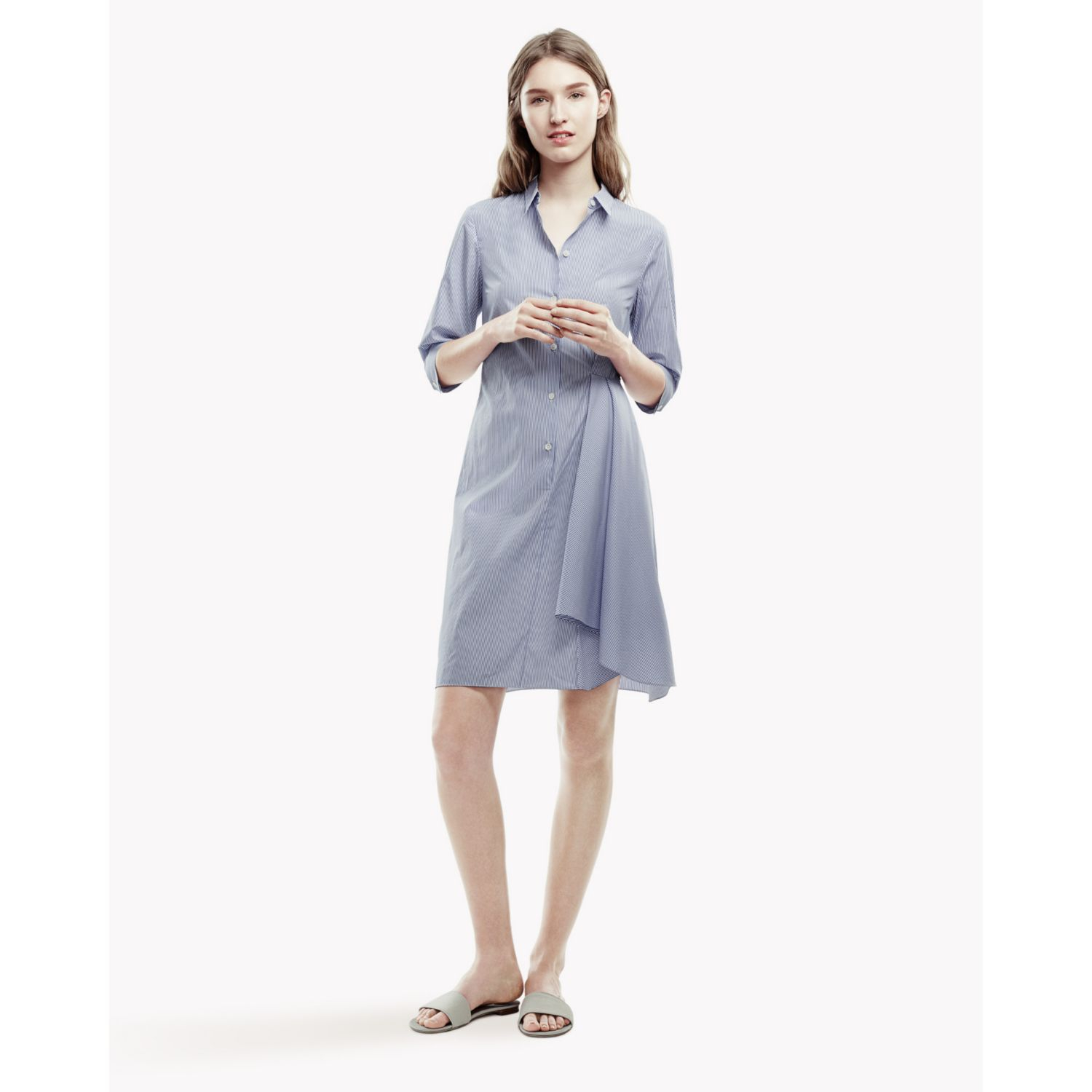 lyst theory diaz sl express shirt dress in blue