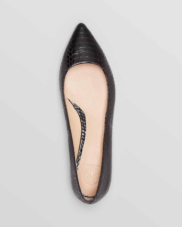 16f970df86b Lyst - Tory Burch Pointed Toe Flats - Bedford Snakeskin in Black