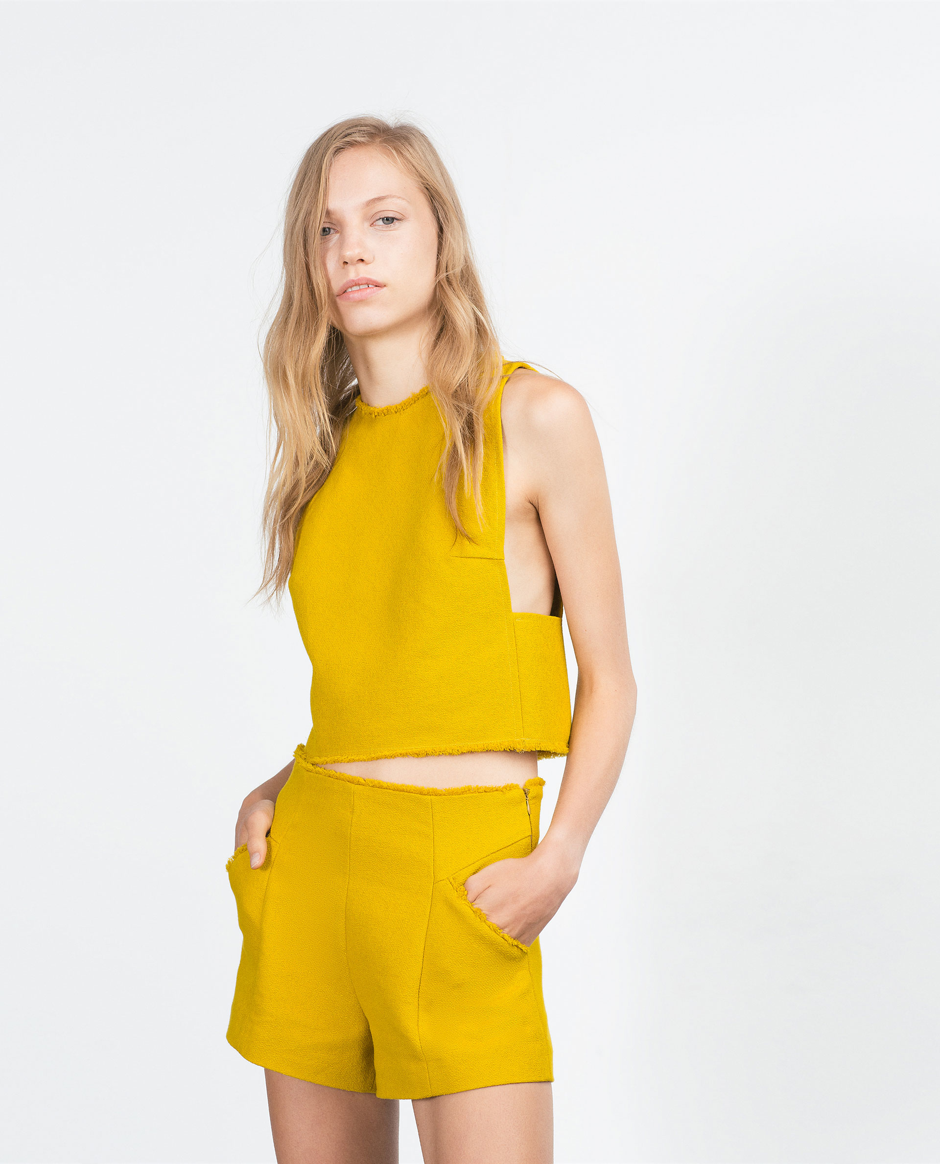 Zara High Waist Shorts in Yellow | Lyst