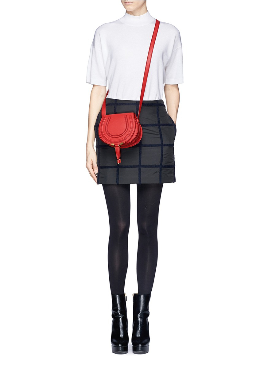 257938a6b5 Chloé 'marcie' Small Leather Crossbody Saddle Bag in Red - Lyst