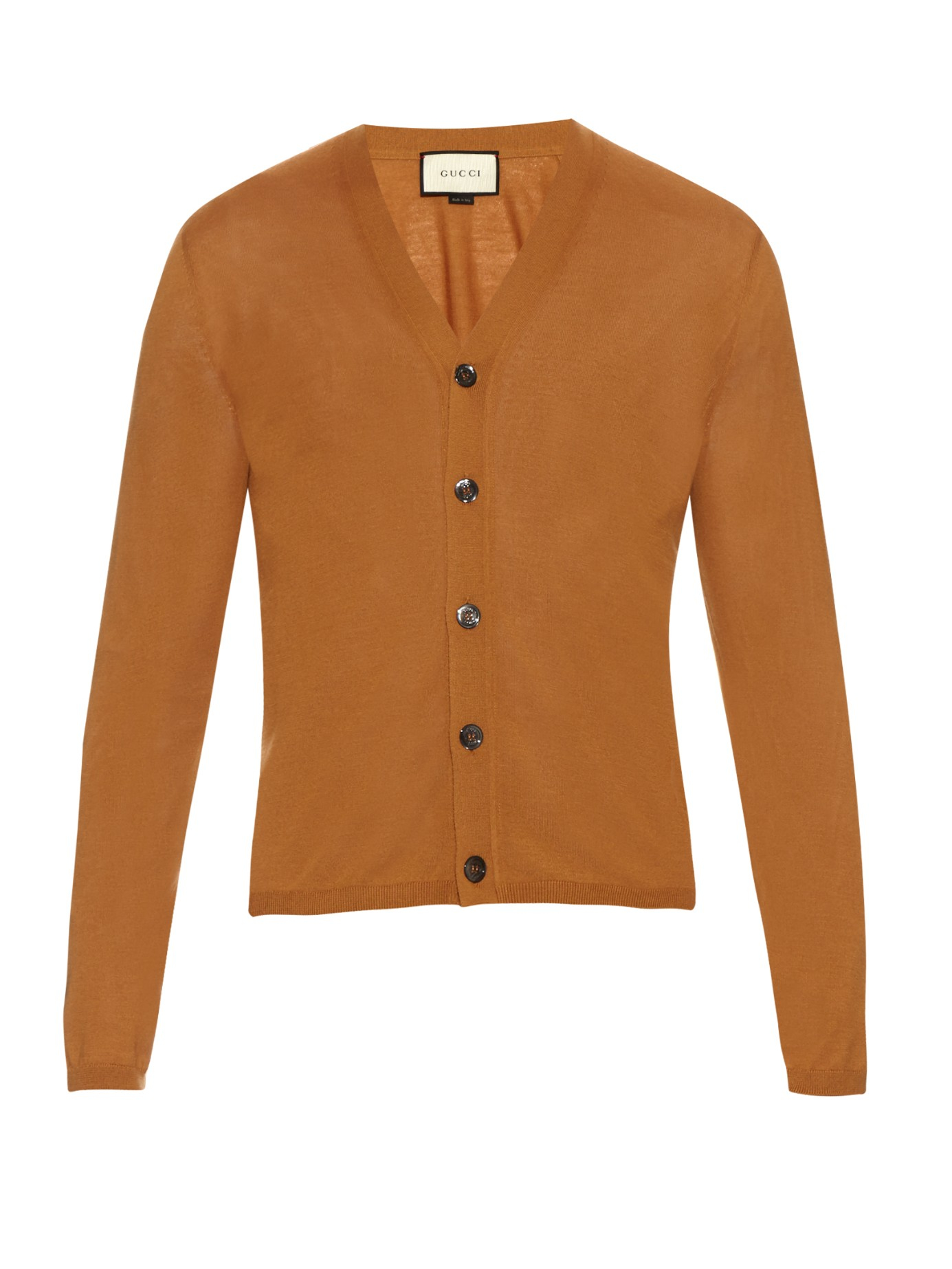 Gucci V-neck Cashmere-knit Cardigan in Orange for Men | Lyst