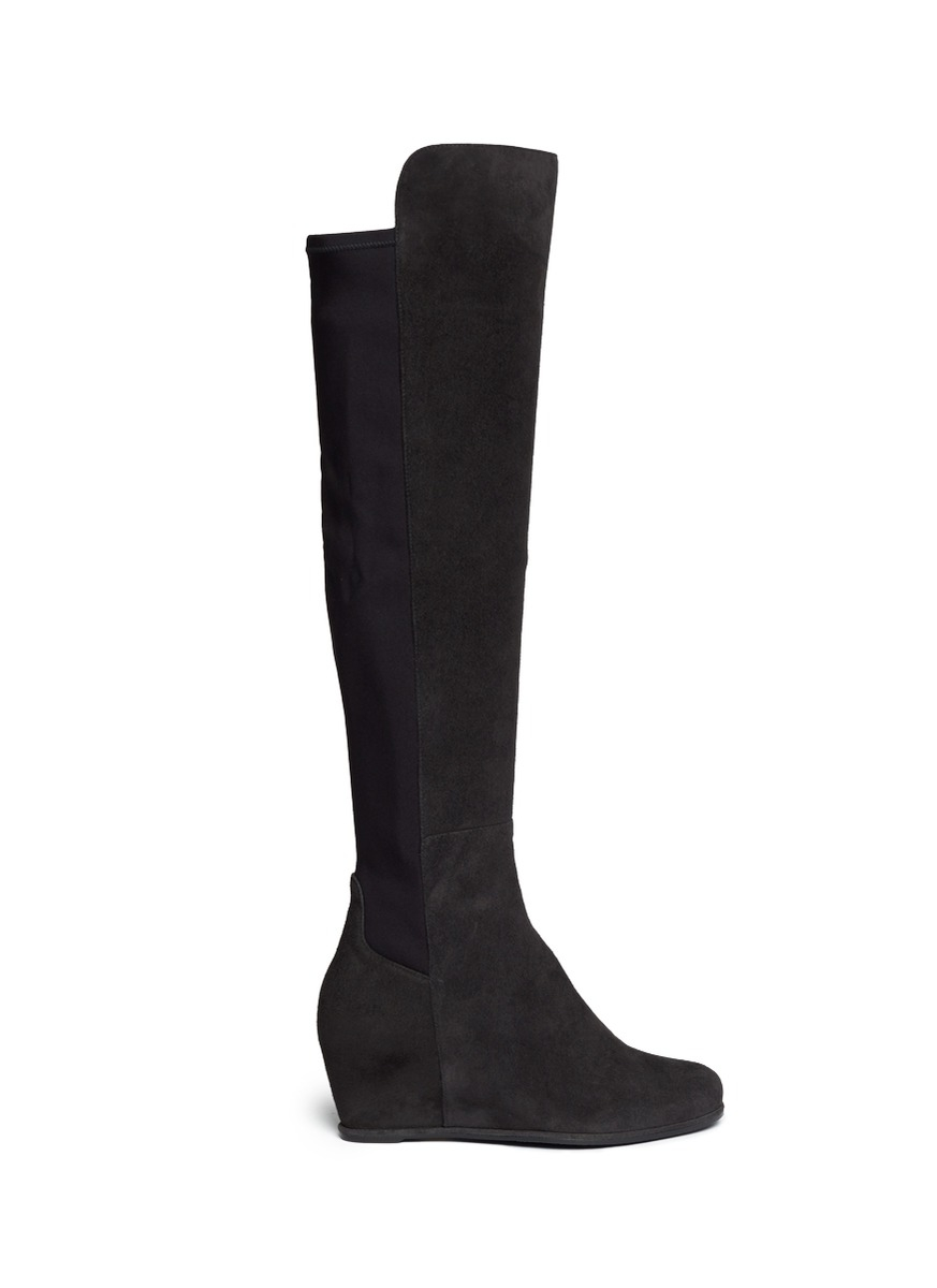 stuart weitzman semi elastic back suede wedge boots in