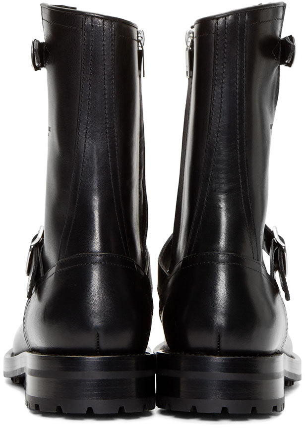 Saint laurent Black Leather Buckle Combat Boots in Black for Men ...