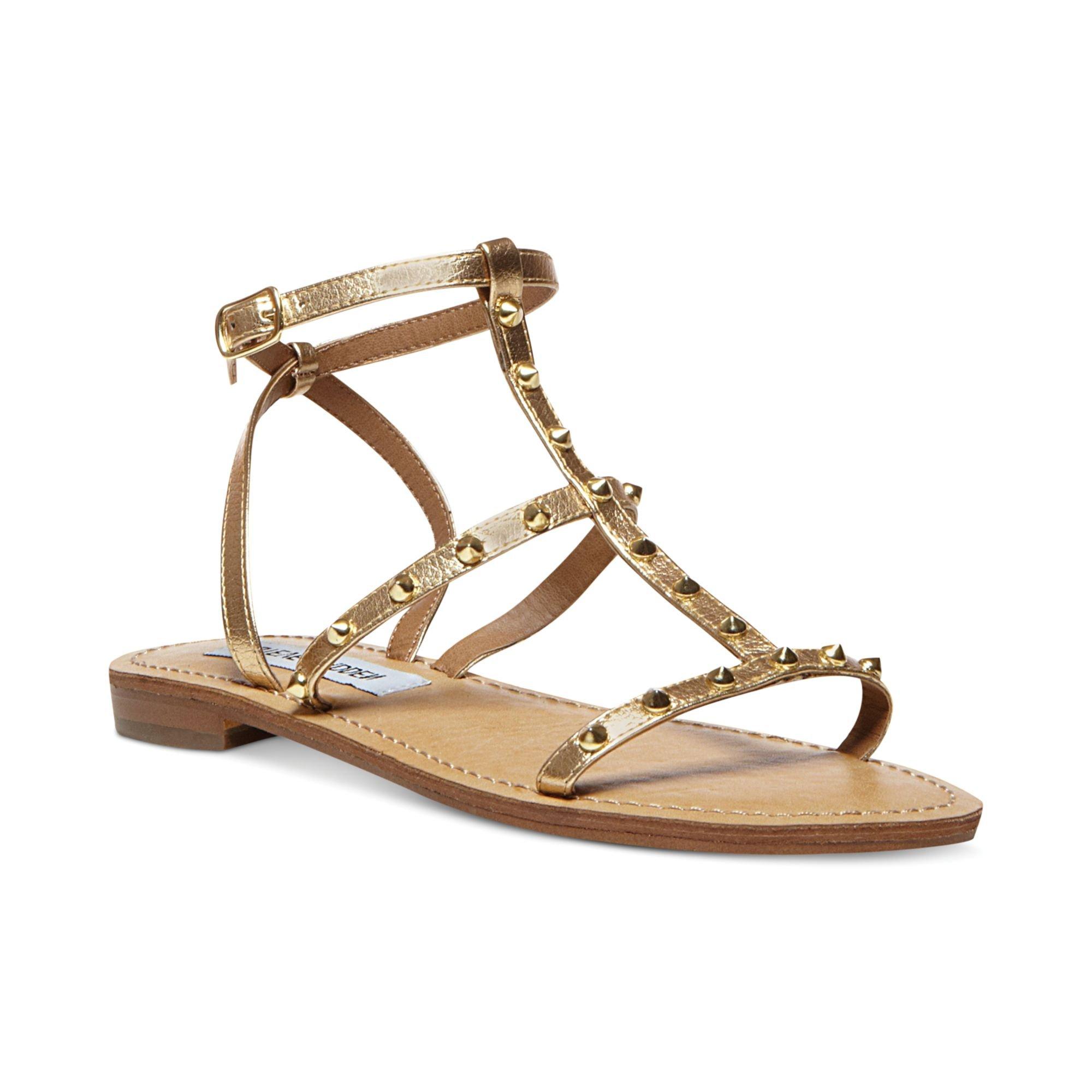 steve madden womens greenie flat sandals in gold lyst. Black Bedroom Furniture Sets. Home Design Ideas