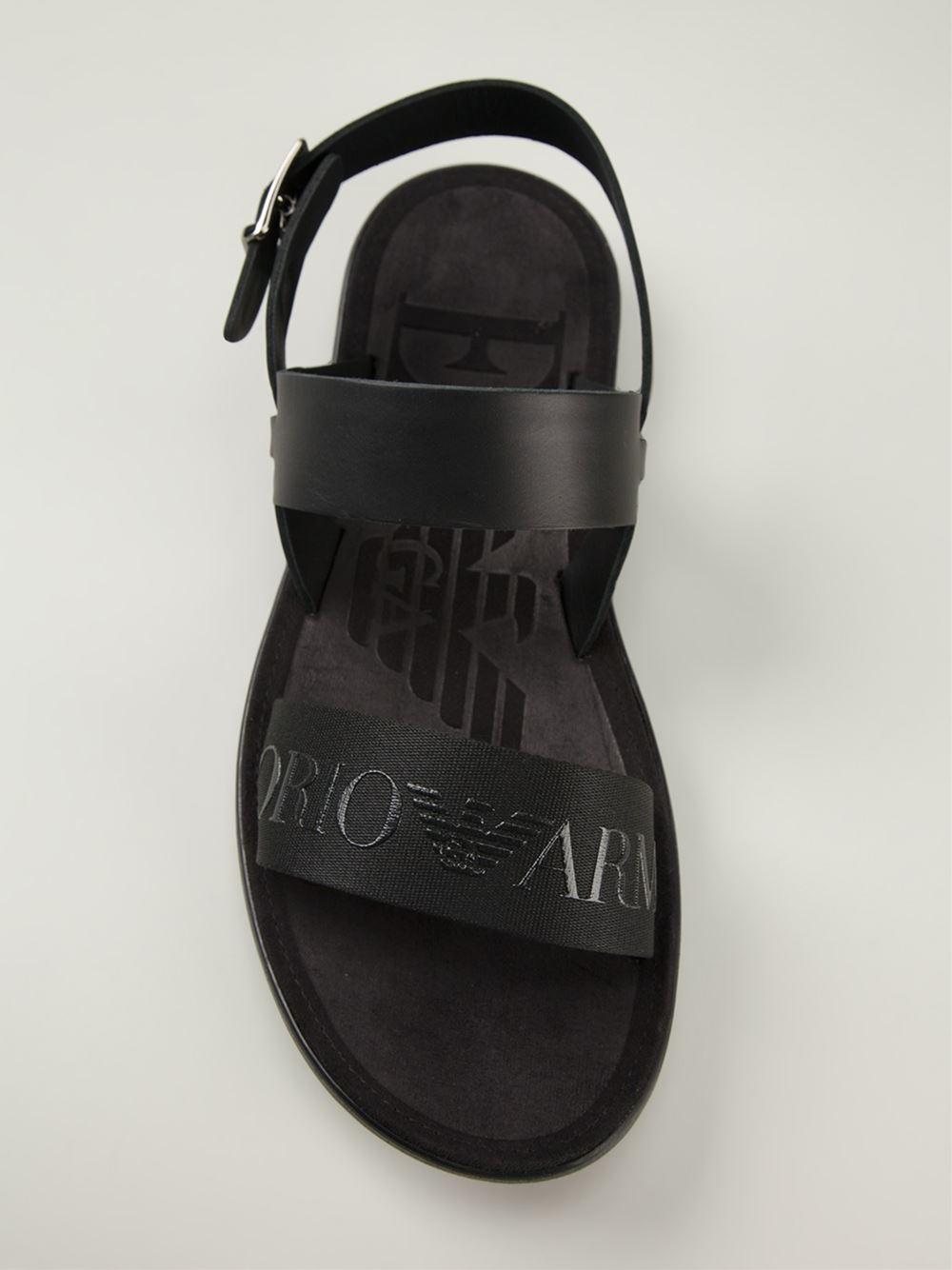 Lyst Emporio Armani Embossed Logo Strap Sandals In Black