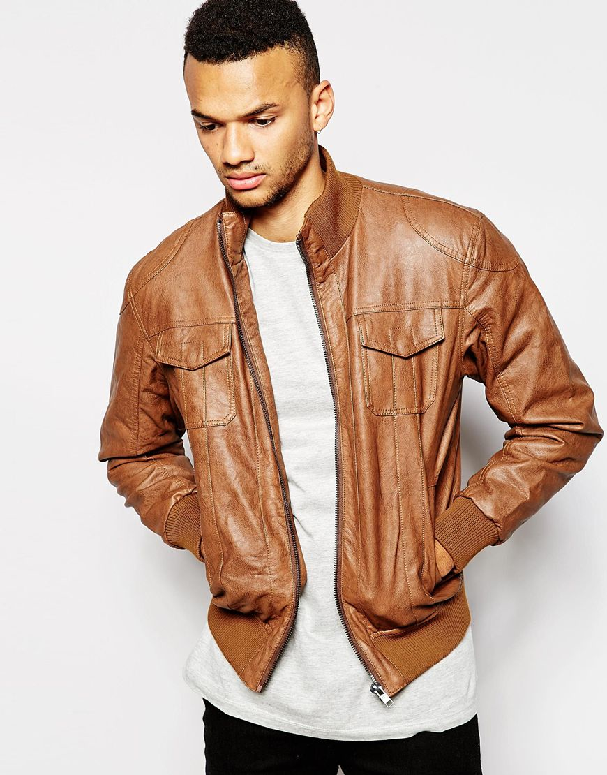 Lyst Barneys Originals Barneys Faux Leather Bomber Jacket In Brown