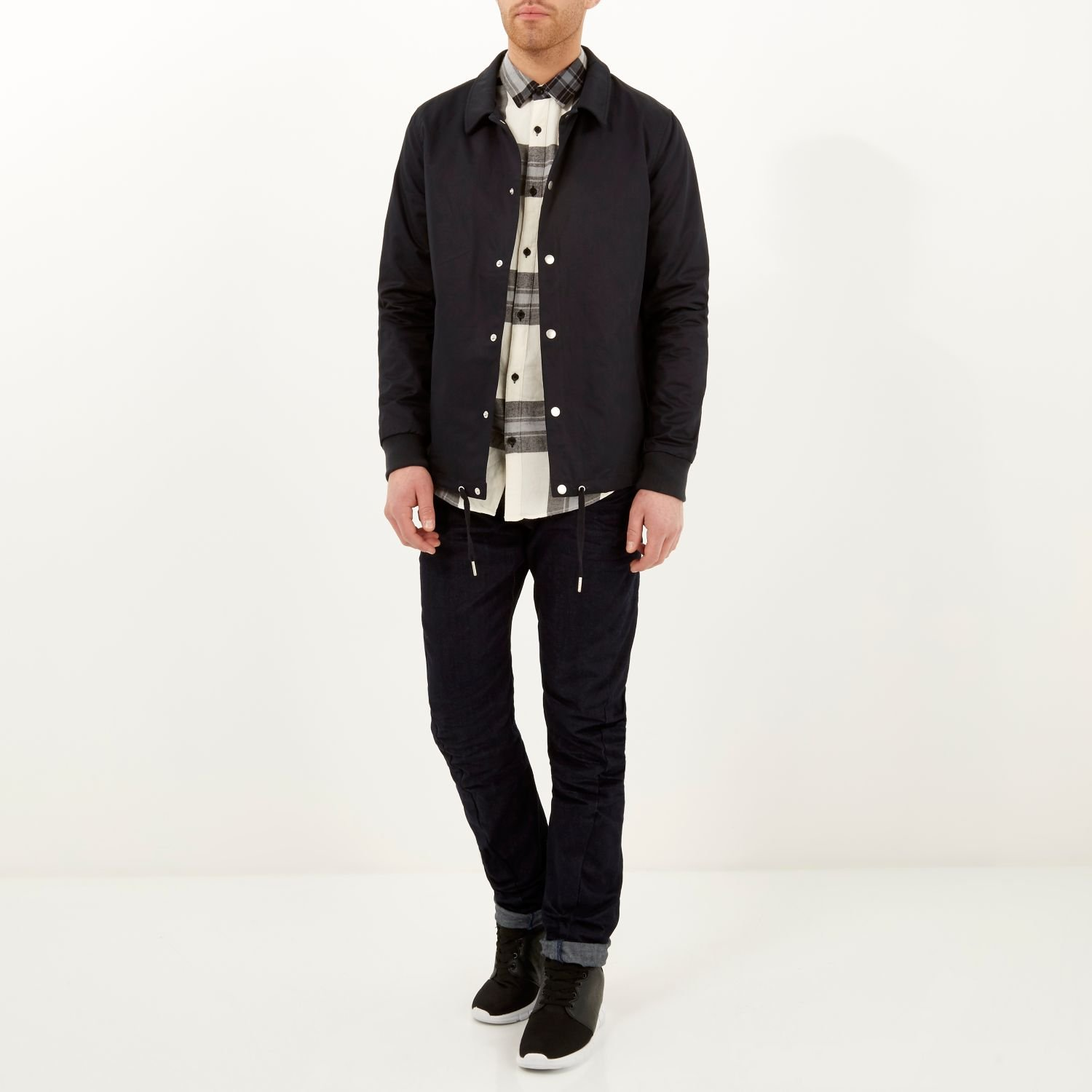 River Island Cotton Navy Lightweight Casual Coach Jacket in Blue for Men