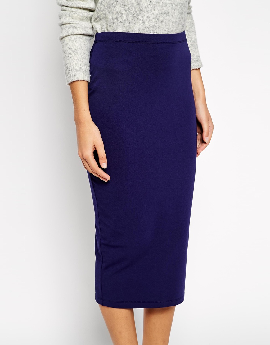 asos midi pencil skirt in jersey in blue navy lyst